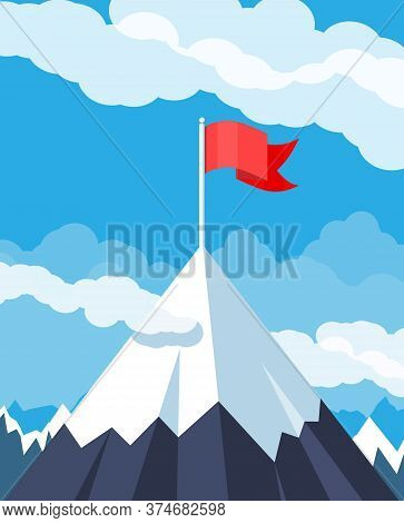 Flag On Peak Of Mountain. Business Success, Target, Triumph, Goal Or Achievement. Winning Of Competi