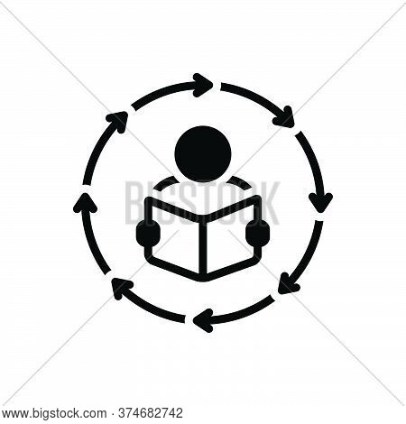Black Solid Icon For Methodologies Study Research Activity Creativity Inspiration Read Book  Educati