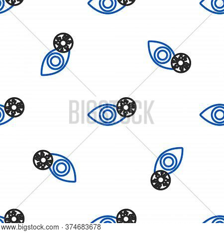 Line Reddish Eye Due To Virus, Bacterial Or Allergic Conjunctivitis Icon Isolated Seamless Pattern O