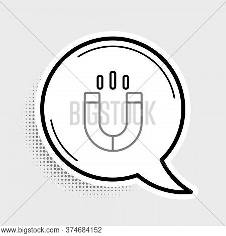 Line Magnet Icon Isolated On Grey Background. Horseshoe Magnet, Magnetism, Magnetize, Attraction. Co