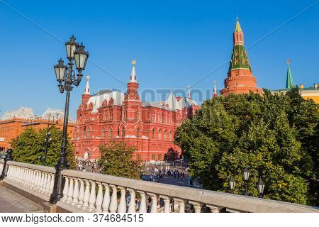 MOSCOW - JULY 14, 2019: People visit the Red Square in a summer day in Moscow, Russia. Red Square and Kremlin are the top tourist attraction of Moscow.