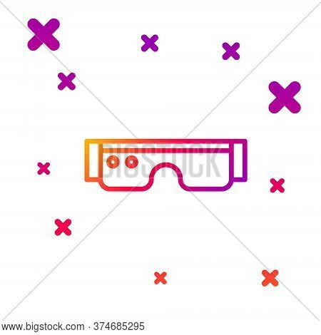 Color Line Smart Glasses Mounted On Spectacles Icon Isolated On White Background. Wearable Electroni