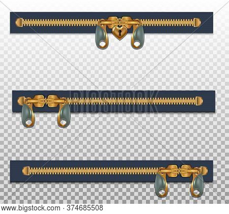 Three Zippers For Clothes, In Two Fasteners, Closed. Gold Color Isolated On A Transparent Background