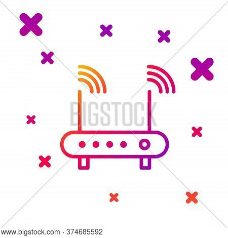 Color Line Router And Wi-fi Signal Symbol Icon Isolated On White Background. Wireless Ethernet Modem