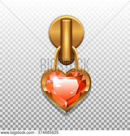 Gold Color Zip Closure Heart Shaped Gemstone. Pendant For Opening Zippers On Clothes. Isolated On A