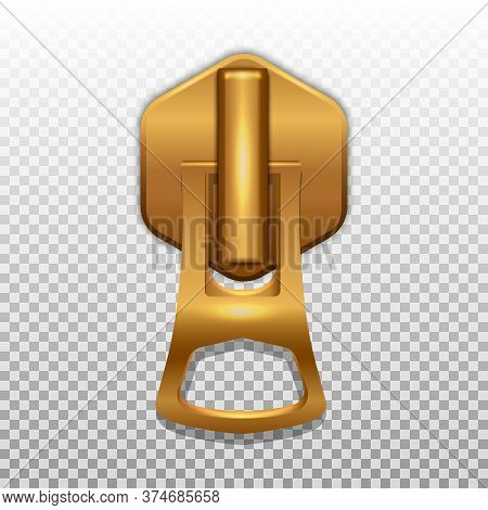 Gold Color Zip Closure. Pendant For Opening Zippers On Clothes. Isolated On A Transparent Background
