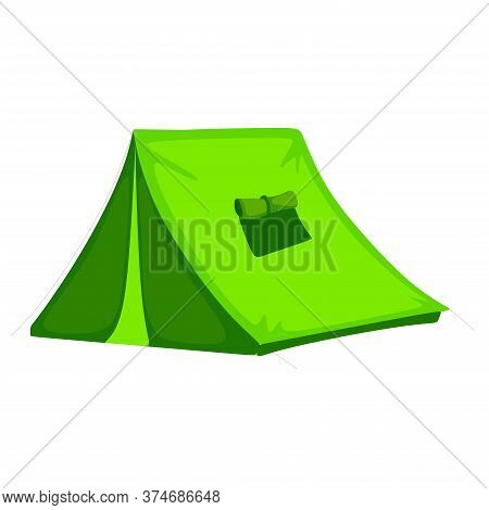 Summer Green Tent. Beautiful Tent For Natural Hiking Or Ecotourism. Summer Camping Banner Template.o
