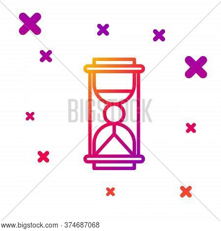 Color Line Old Hourglass With Flowing Sand Icon Isolated On White Background. Sand Clock Sign. Busin