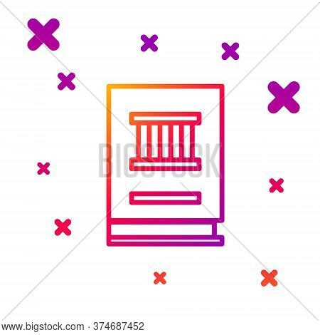 Color Line Law Book Icon Isolated On White Background. Legal Judge Book. Judgment Concept. Gradient