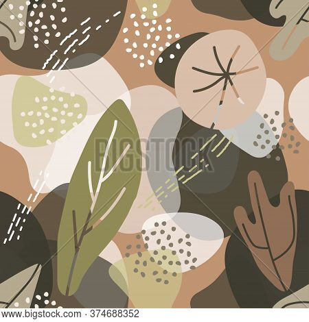 Abstract Trendy Floral Element Memphis Style. Abstract Eco Background. Universal Card, Pastel Colors