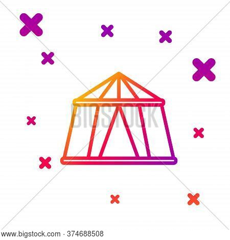 Color Line Circus Tent Icon Isolated On White Background. Carnival Camping Tent. Amusement Park. Gra