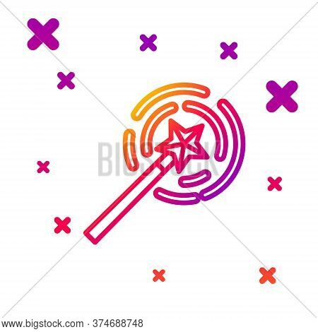 Color Line Magic Wand Icon Isolated On White Background. Star Shape Magic Accessory. Magical Power.