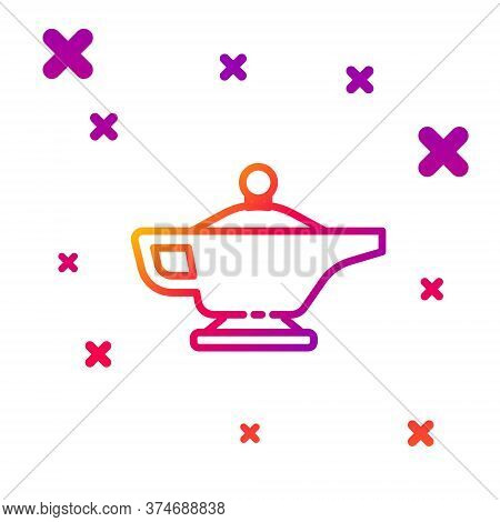 Color Line Magic Lamp Or Aladdin Lamp Icon Isolated On White Background. Spiritual Lamp For Wish. Gr