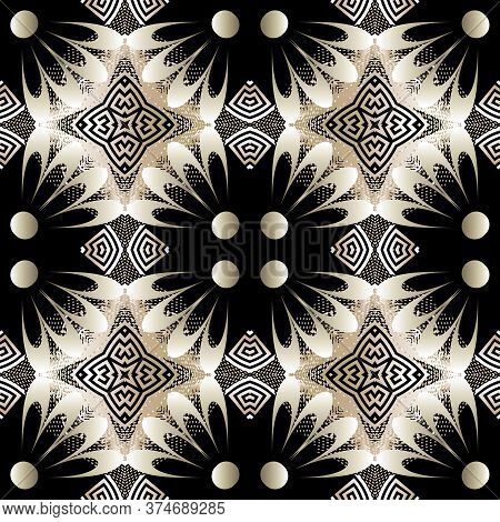 Modern Greek Vector Seamless Pattern. Abstract Floral Background With Grunge 3d Flowers, Halftone Sh