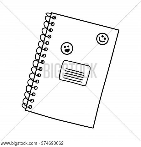 Closed School Notebook On A Spiral With Space For Text. Doodle.stationery For Pupils And Students. D