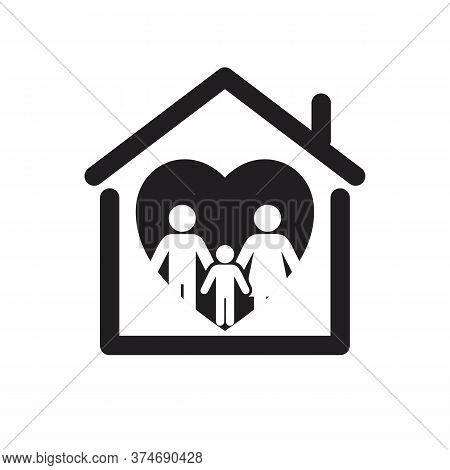 Happy Family Icon Isolated On White Backgroun, Vector Icon Happy Family