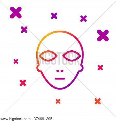Color Line Alien Icon Isolated On White Background. Extraterrestrial Alien Face Or Head Symbol. Grad