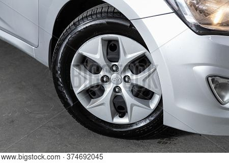 Novosibirsk/ Russia - June 23  2020:  Hyundai Solaris, Close-up Of The Alloy Wheel. Photography Of A