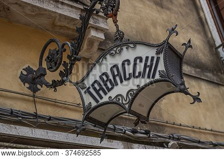 Venice, Italy 2 July 2020: Tobacco Shop Sign In Venice, Italy. Tabacchi Means Tobacco In Italian