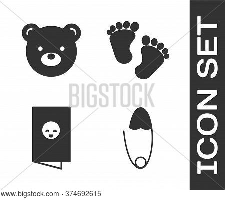 Set Classic Steel Safety Pin, Teddy Bear Plush Toy, Baby Shower Invitations Card, Poster And Baby Fo