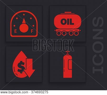 Set Industrial Gas Cylinder Tank, Motor Gas Gauge, Oil Railway Cistern And Drop In Crude Oil Price I
