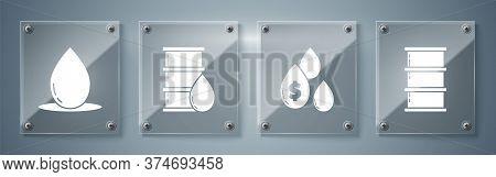 Set Barrel Oil, Oil Drop With Dollar Symbol, Barrel Oil And Oil Drop. Square Glass Panels. Vector