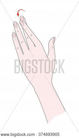 Exercise For The Joints Of The Hand. Woman's Hand With Crossed Forefinger. Vector. Isolated On A Whi