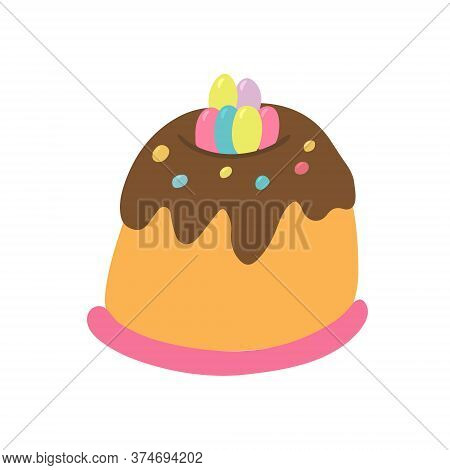 Easter Cake Decorated With Little Colorful Eggs, Chocolate Glaze Add Jelly Beans. Hand Drawn Vector