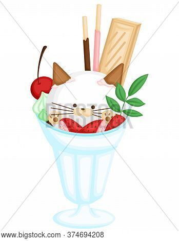 A Vector Of Cute Cat Ice Cream With Various Fruit And Biscuit Topping
