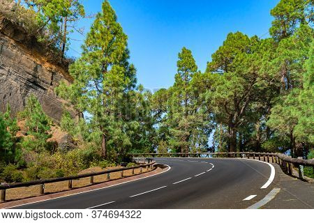 Winding Road With Wooden Fence In A Mountain Forest. Bright Green Forest Against Blue Sky.
