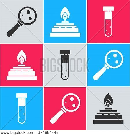 Set Microorganisms Under Magnifier, Alcohol Or Spirit Burner And Test Tube And Flask Chemical Icon.