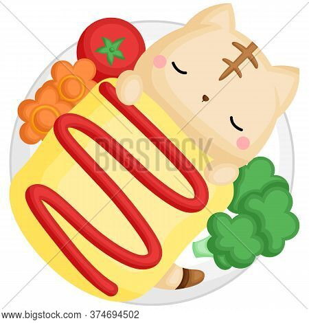 A Vector Of Cute Sleeping Cat Inside The Japanese Fried Rice With Omelette