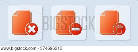 Set Document With Minus, Delete File Document And Delete File Document. White Square Button. Vector