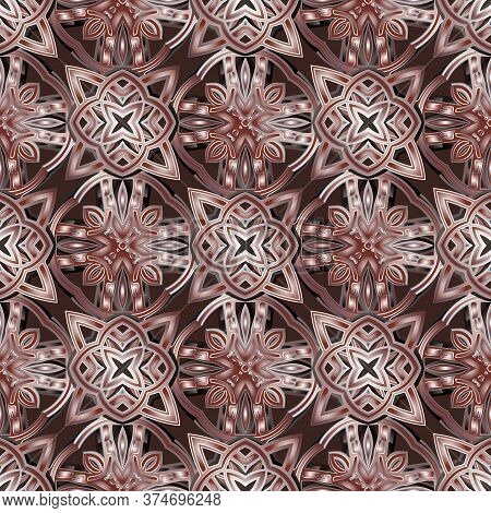 Arabic Style Floral Vector Seamless Pattern. Ornamental Arabesque Background. Colorful Repeat Ornate