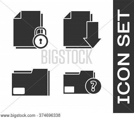Set Unknown Document Folder, Document And Lock, Document Folder And Document With Download Icon. Vec