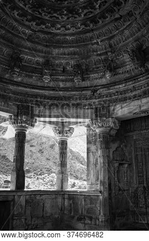 Interior Of An Abandoned Temple In Cursed Ruined Fort In A Haunted Place Bhangarh Fort Located In Ra