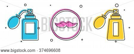 Set Aftershave Bottle With Atomizer, Mustache And Aftershave Bottle With Atomizer Icon. Vector