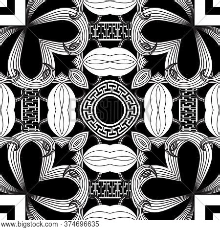Line Art Greek Style Floral Seamless Pattern. Vector Ornamental Background. Repeat Ethnic Black Whit