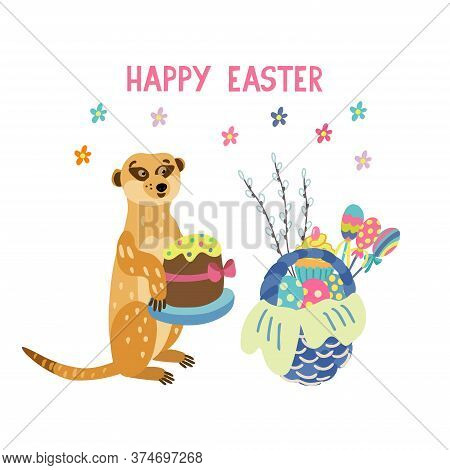 Greeting Card With Adorable Meerkat Holding Easter Cake. Wicker Basket Full Of Colorful Eggs, Lollip