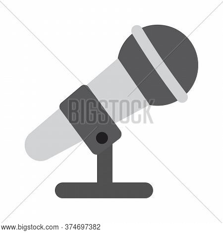 Microphone Icon In Flat Style. Karaoke Mic Symbol. Music Studio, Singing Song Concept.