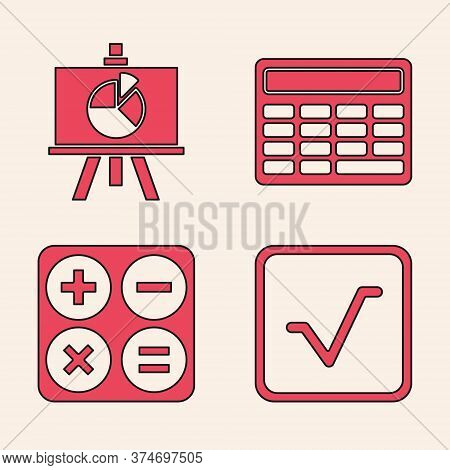Set Square Root, Chalkboard With Diagram, Calculator And Calculator Icon. Vector