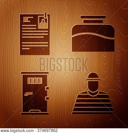 Set Prisoner, Lawsuit Paper, Prison Cell Door And Inkwell On Wooden Background. Vector