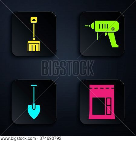 Set Cement Bag, Snow Shovel, Shovel And Electric Drill Machine. Black Square Button. Vector