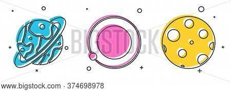 Set Planet Saturn, Satellites Orbiting The Planet Earth And Moon Icon. Vector