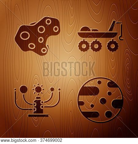 Set Planet Mars, Asteroid, Solar System And Mars Rover On Wooden Background. Vector