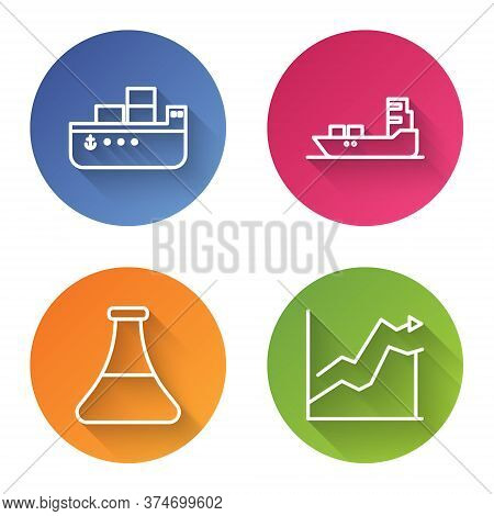 Set Line Oil Tanker Ship, Oil Tanker Ship, Oil Petrol Test Tube And Oil Price Increase. Color Circle
