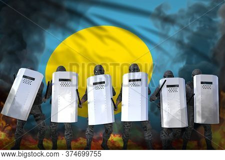 Palau Protest Stopping Concept, Police Squad In Heavy Smoke And Fire Protecting Peaceful People Agai
