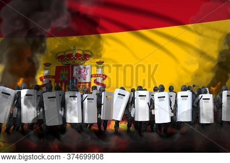 Spain Protest Stopping Concept, Police Guards In Heavy Smoke And Fire Protecting Order Against Riot