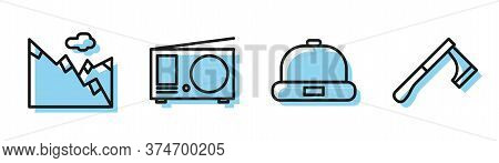 Set Line Beanie Hat, Mountains, Radio With Antenna And Wooden Axe Icon. Vector