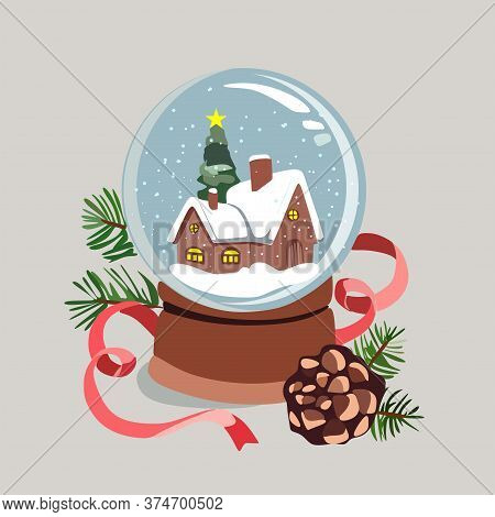 A Glass Snow Globe With Falling Snow, A Small House And A Christmas Tree Under The Snow.magic Glass